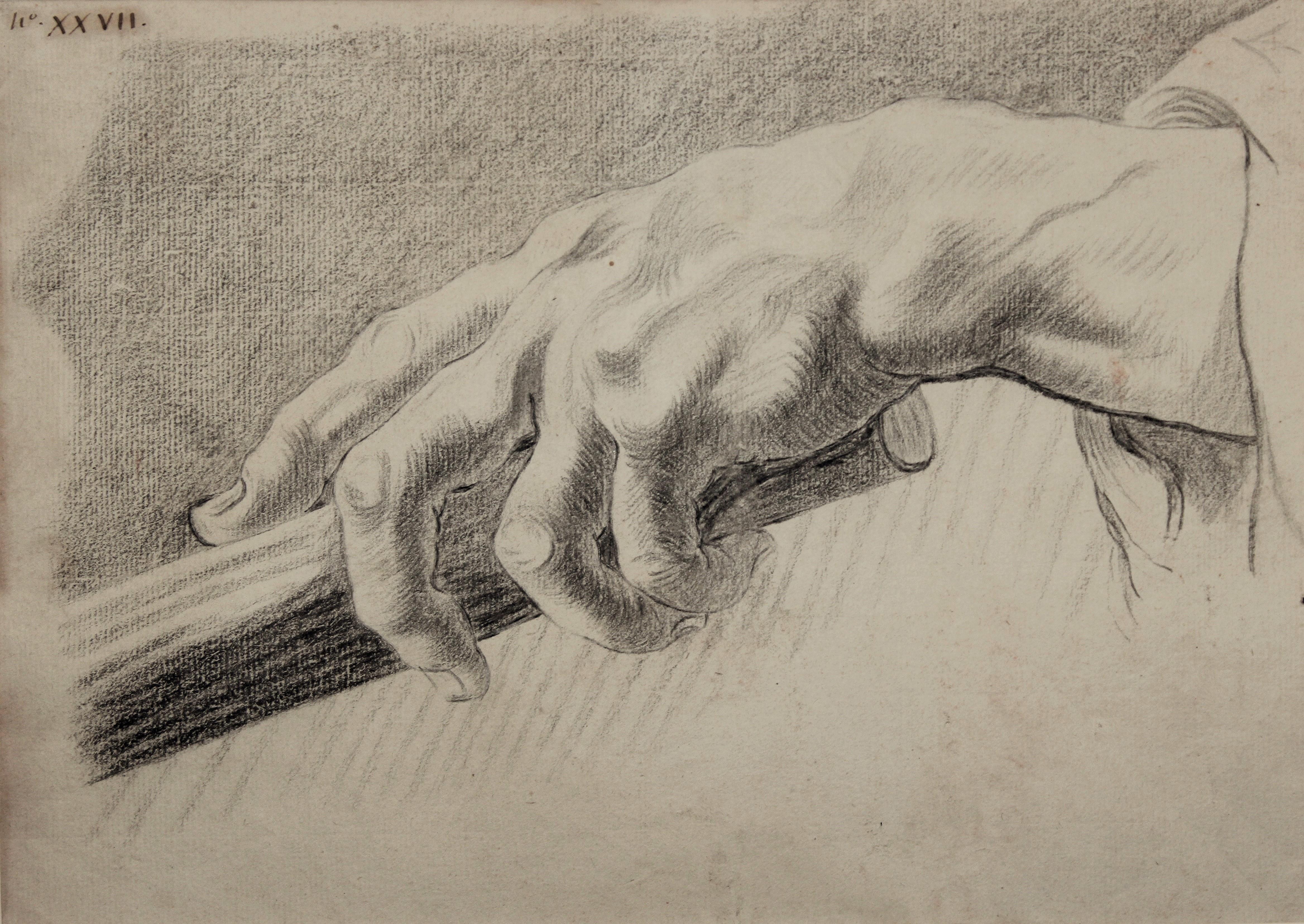 Louis Claude Vasse étude de main pierre noire.