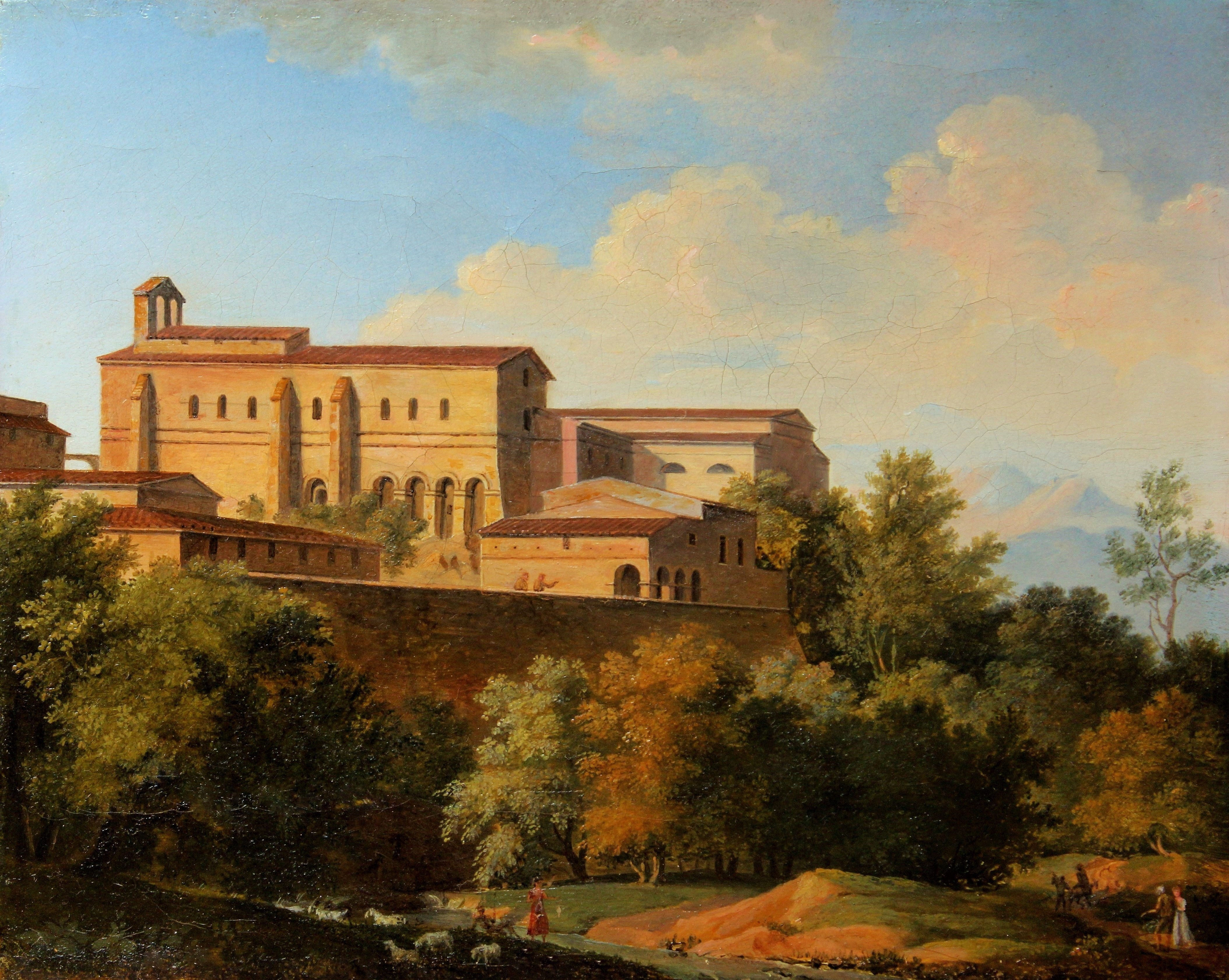 Joseph August Knip Italie abbaye architecture néo-classique huile sur toile (3)