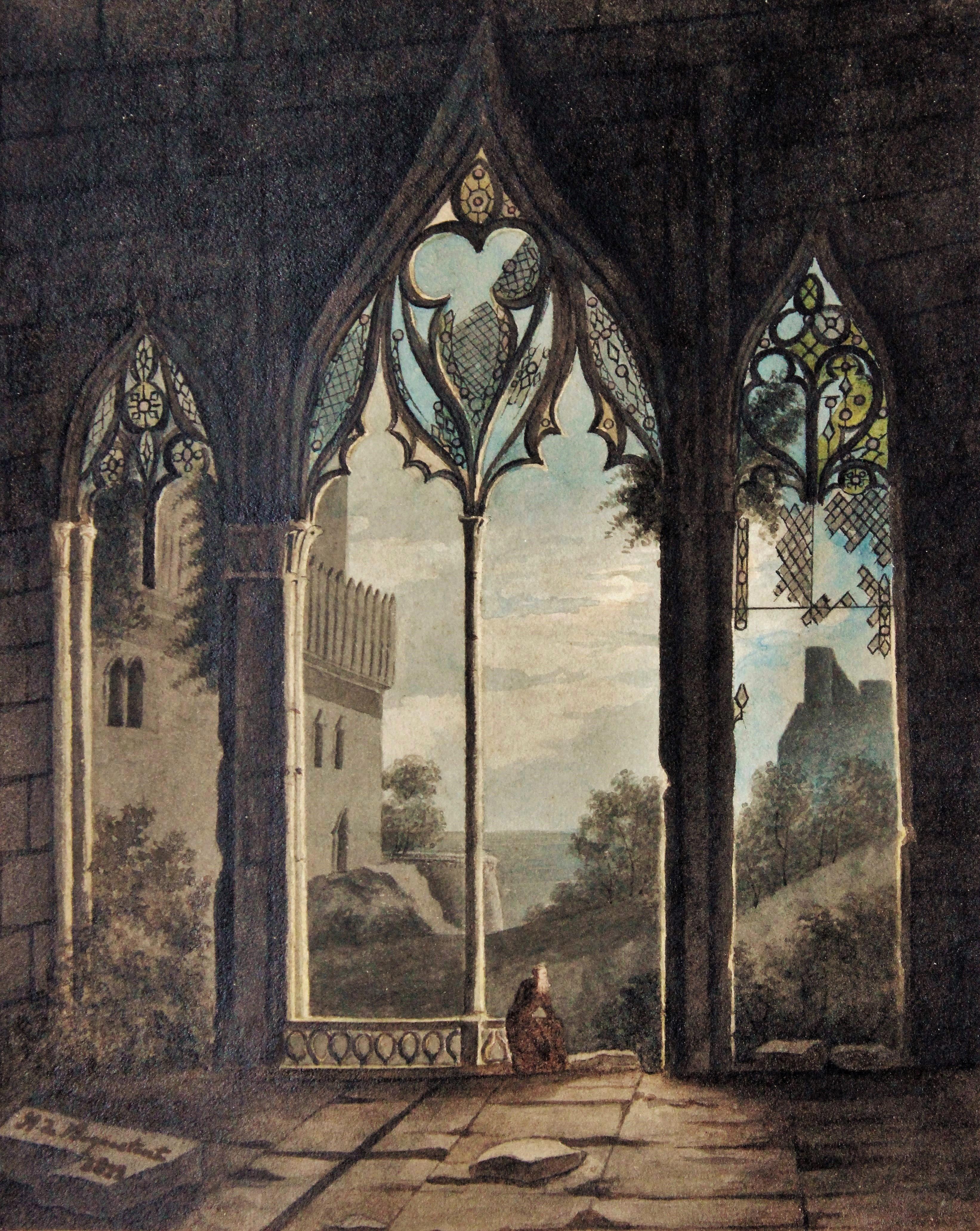 Personnage dans une architecture gothique galerie for Architecture neo gothique