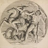 Gravure circulaire d'après Poussin