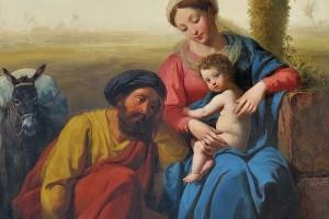 Julien Michel Gué le repos en Egypte salon 1841 huile sur panneau.
